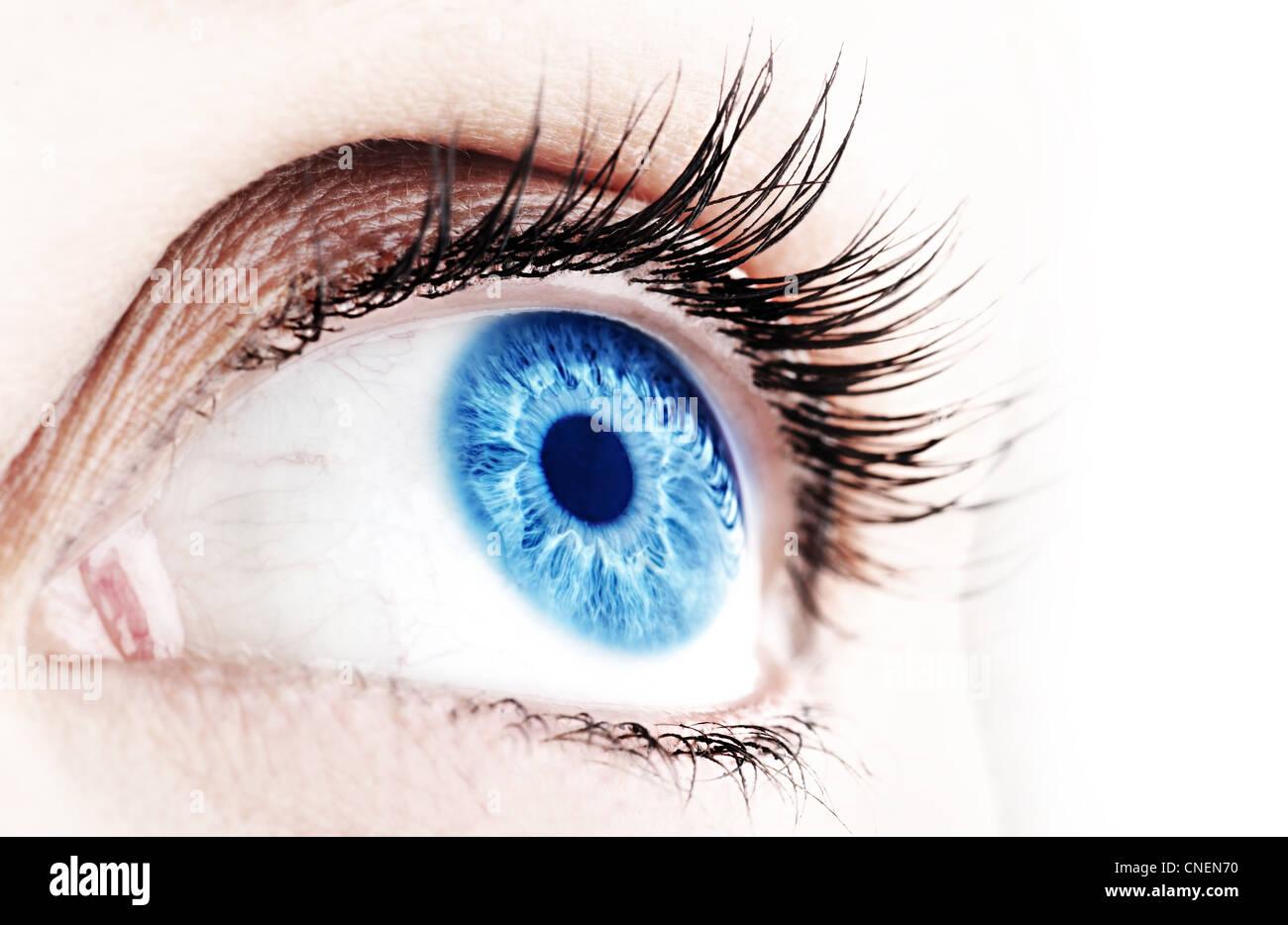 Belle abstract blue eye, gros plan extrême Photo Stock