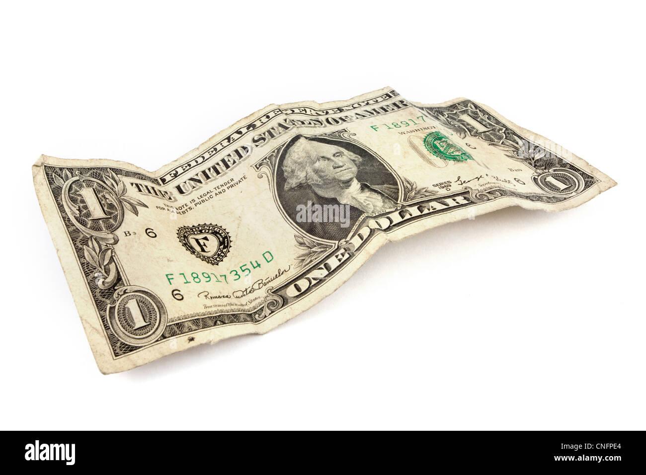 Vieux dollar bill sur un fond blanc Photo Stock