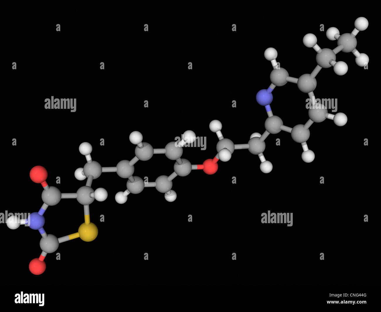 Pioglitazone molécule pharmaceutique Photo Stock
