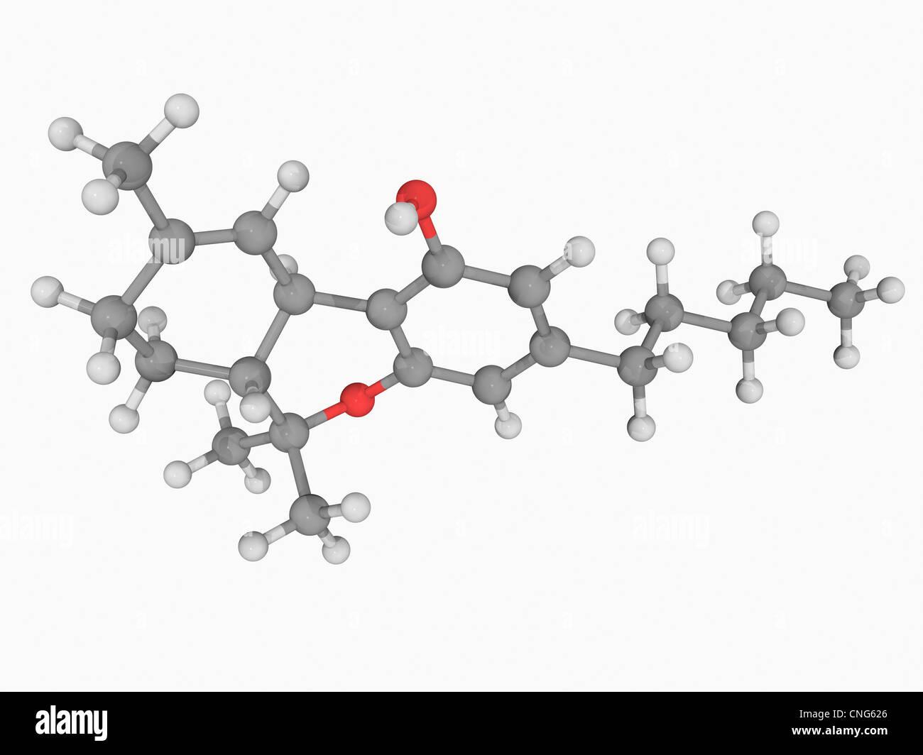 Le tétrahydrocannabinol (THC) molécule pharmaceutique Banque D'Images