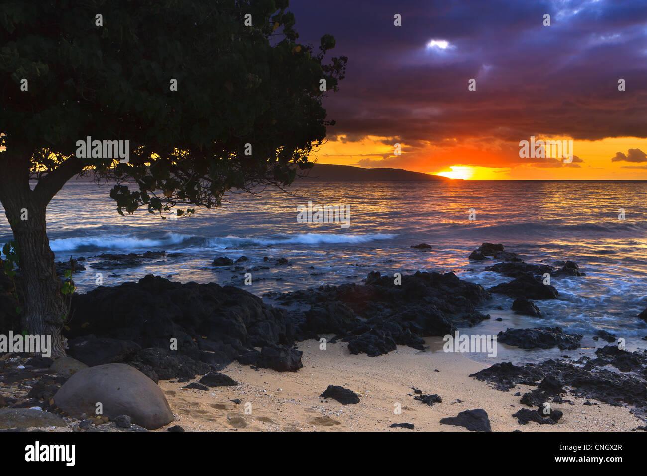 Coucher du soleil à Ahihi Kinau Réserve Naturelle, Maui, Hawaii Photo Stock