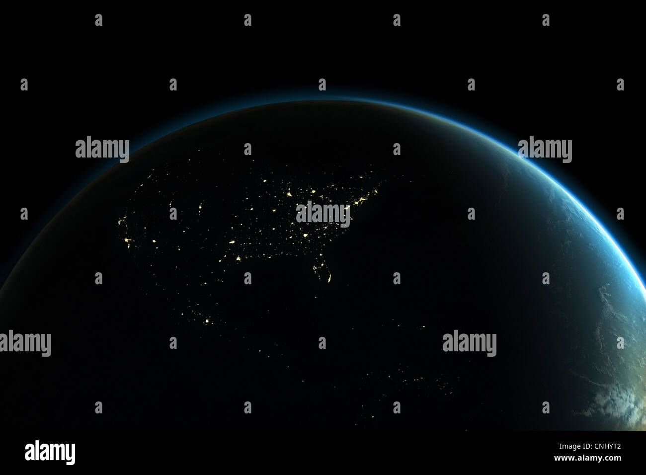 La planète terre avec des lumières d'Amérique du Nord pendant la nuit Photo Stock