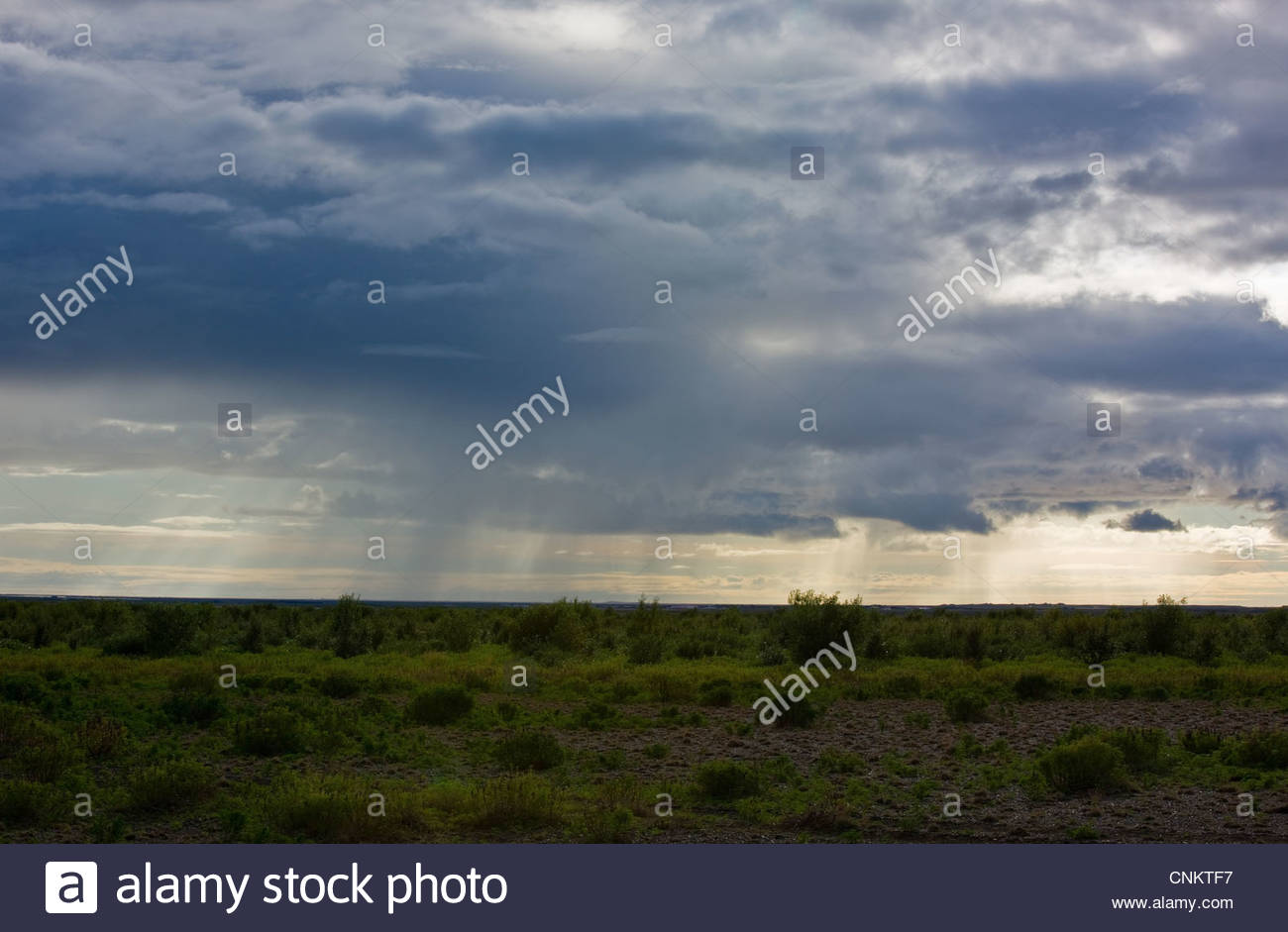Stormy clouds over rural landscape Photo Stock
