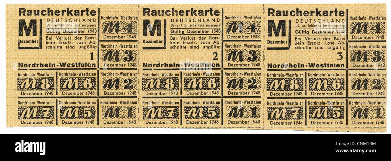 Carte De Leurope Occupee.Carte De Rationnement Du Fumeur 1948 De Rhenanie Du Nord Westphalie