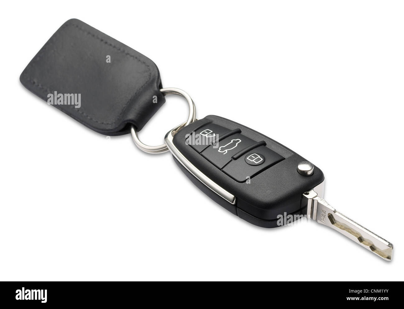 Une clé de voiture et d'une profondeur de champ on white with clipping path Photo Stock
