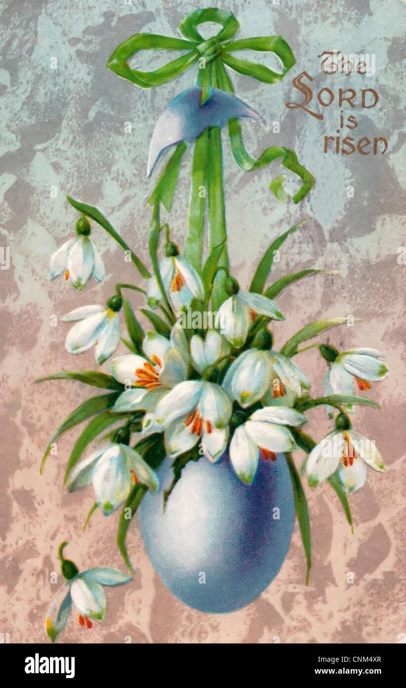 Le Seigneur est ressuscité - vintage carte postale de Pâques Photo Stock