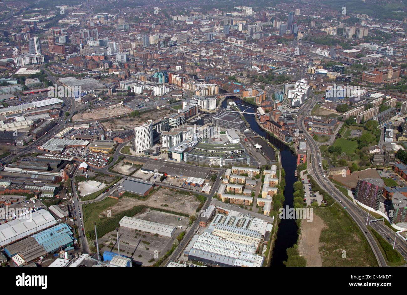 Vue aérienne de Clarence Dock area de Leeds Photo Stock