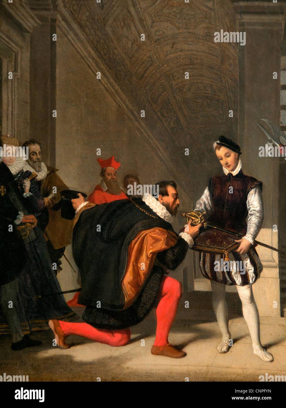Don Pedro de Toledo s'embrasser l'Épée d'Henri IV en 1832 par Jean Auguste Dominique INGRES Photo Stock