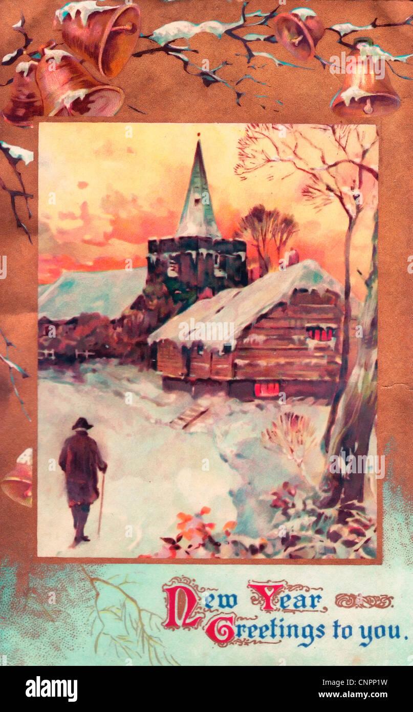 Nouvelle Année salutations à vous - Vintage poster card Photo Stock
