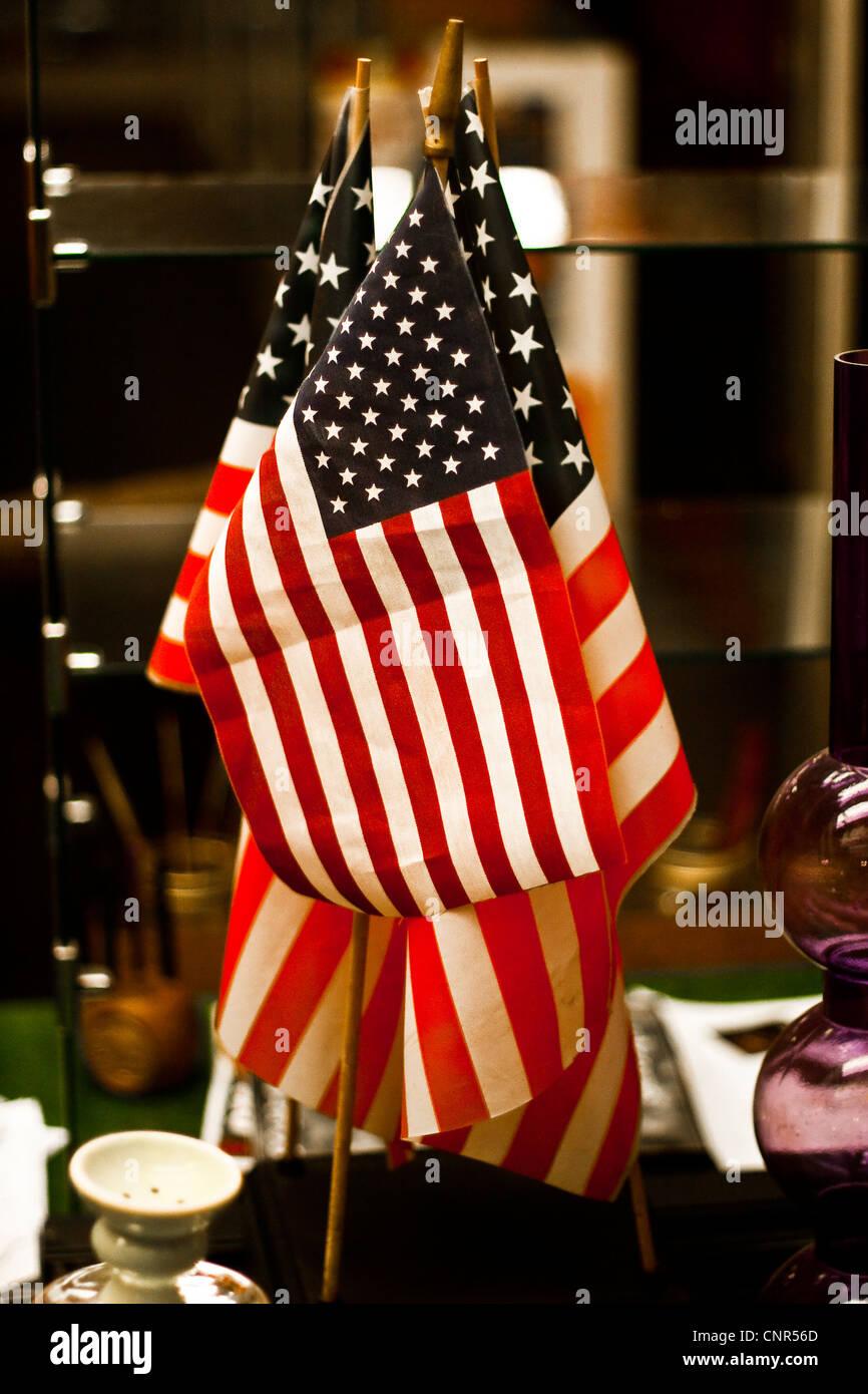 Vitrine affichage de plusieurs drapeaux américains Banque D'Images