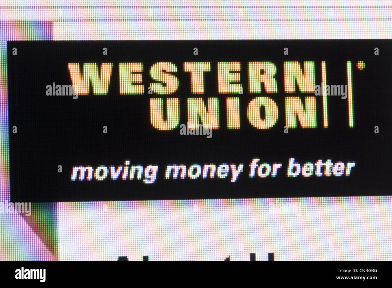 Logo site web de western union sur la page Photo Stock