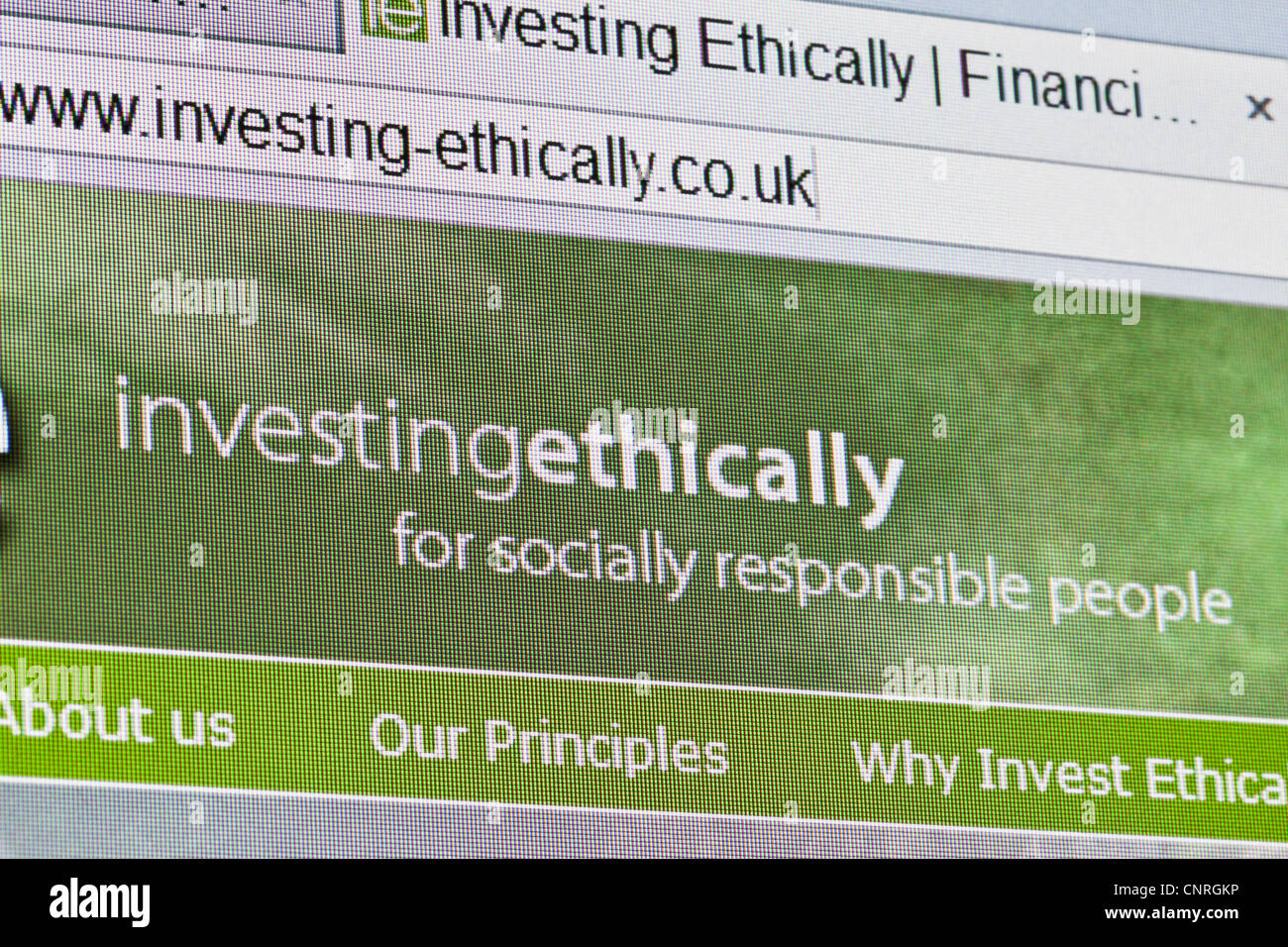 Page d'accueil du site web de l'éthique d'investissement Photo Stock