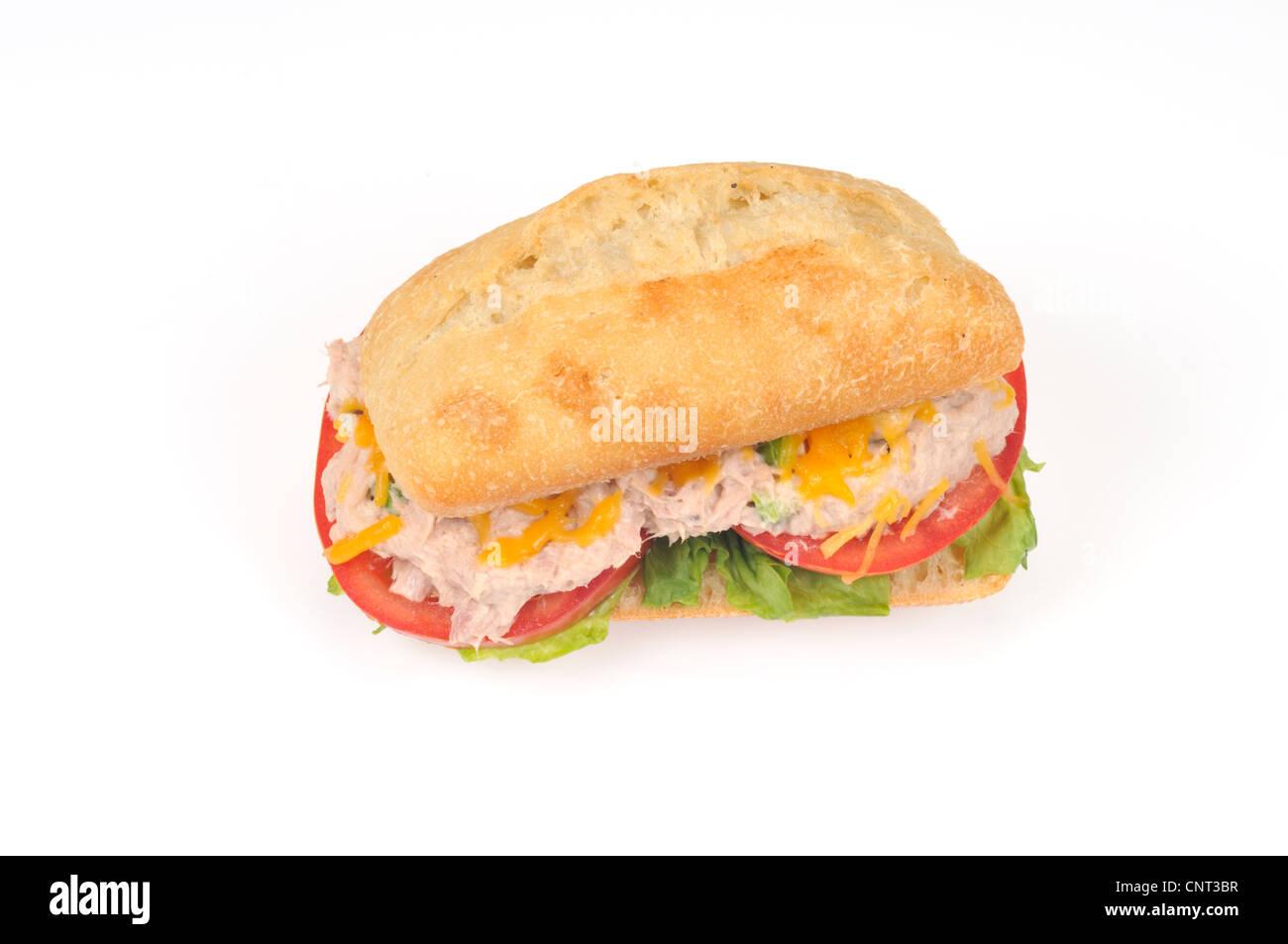 Faire fondre sur un sandwich au thon rouleaux ciabatta Banque D'Images
