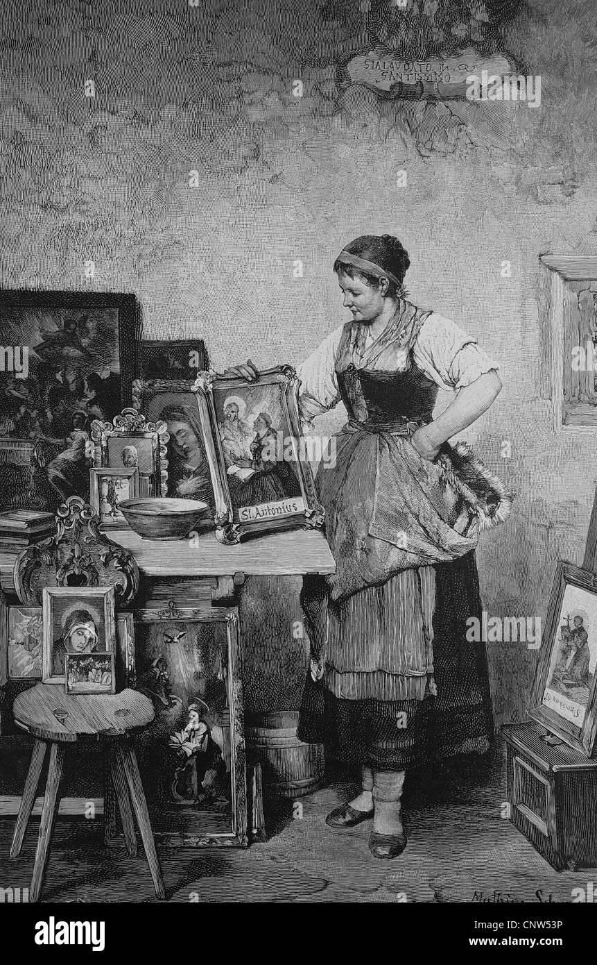 Mécènes, femme avec des images de saints, historique de la gravure, 1880 Photo Stock