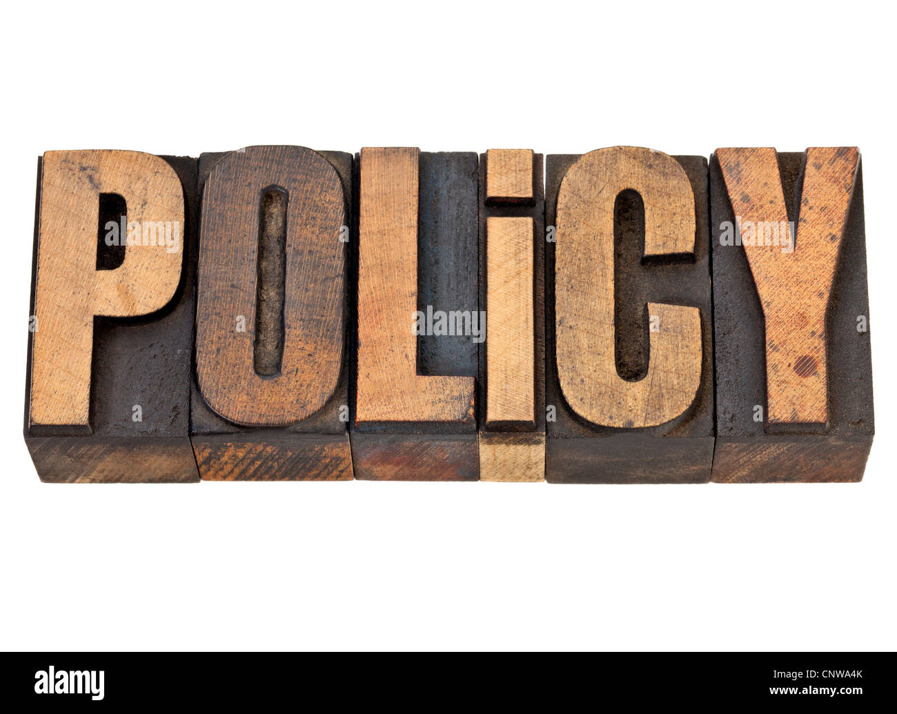 Politique - mot isolé dans la typographie vintage type de bois Photo Stock