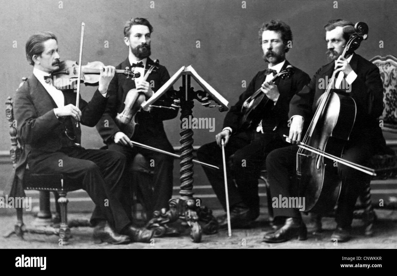 La Musique Instruments Cordes Frottes String Quartet Carte De Visite Munich
