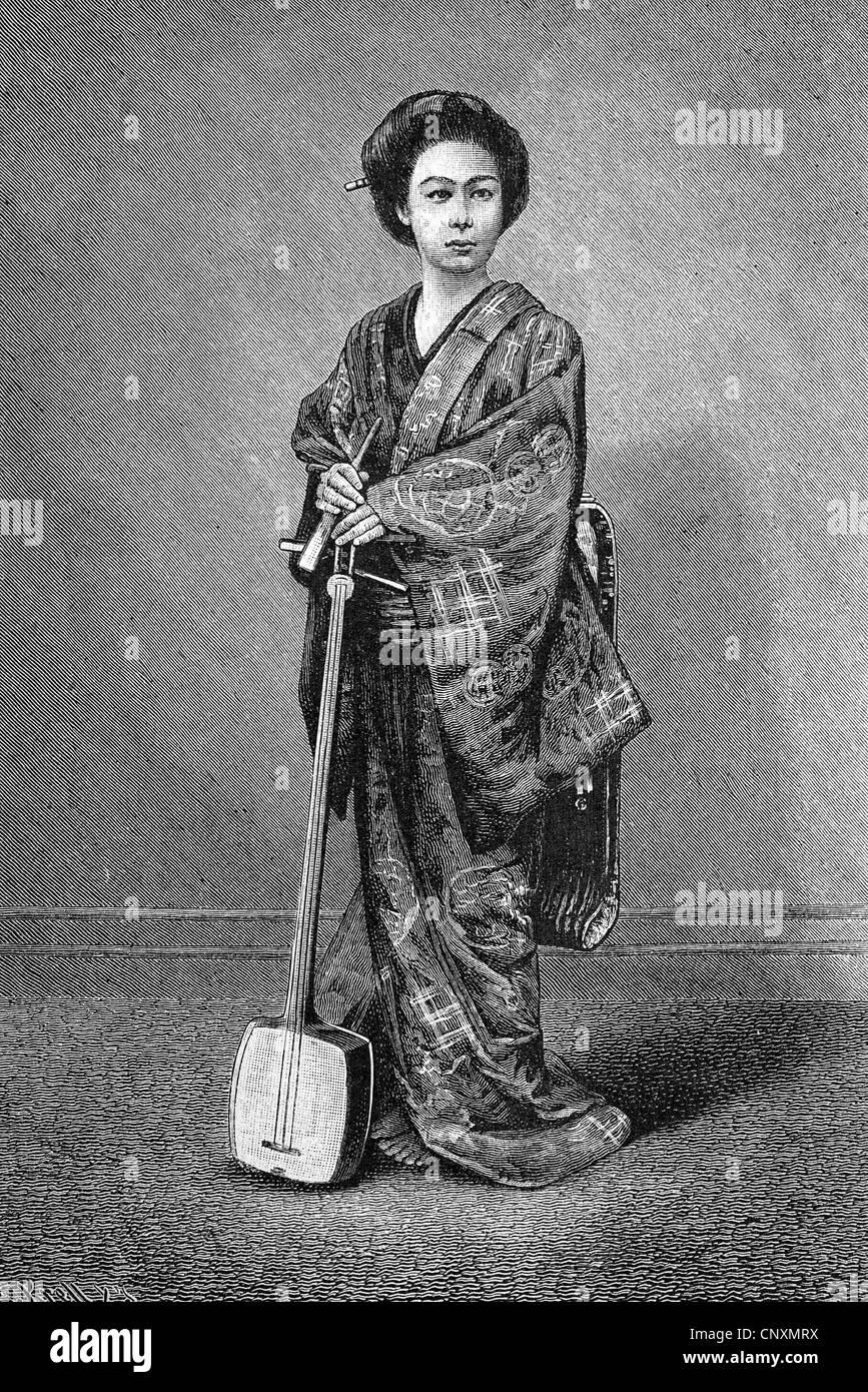La vie des femmes japonais geisha, tenant un shamisen, historique de la gravure, 1883 Banque D'Images