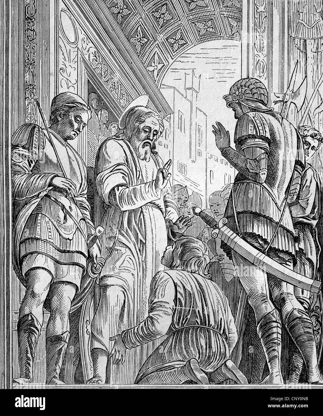 James l'Aîné, l'un des douze apôtres de Jésus, gravure sur bois, vers 1888 historique Photo Stock