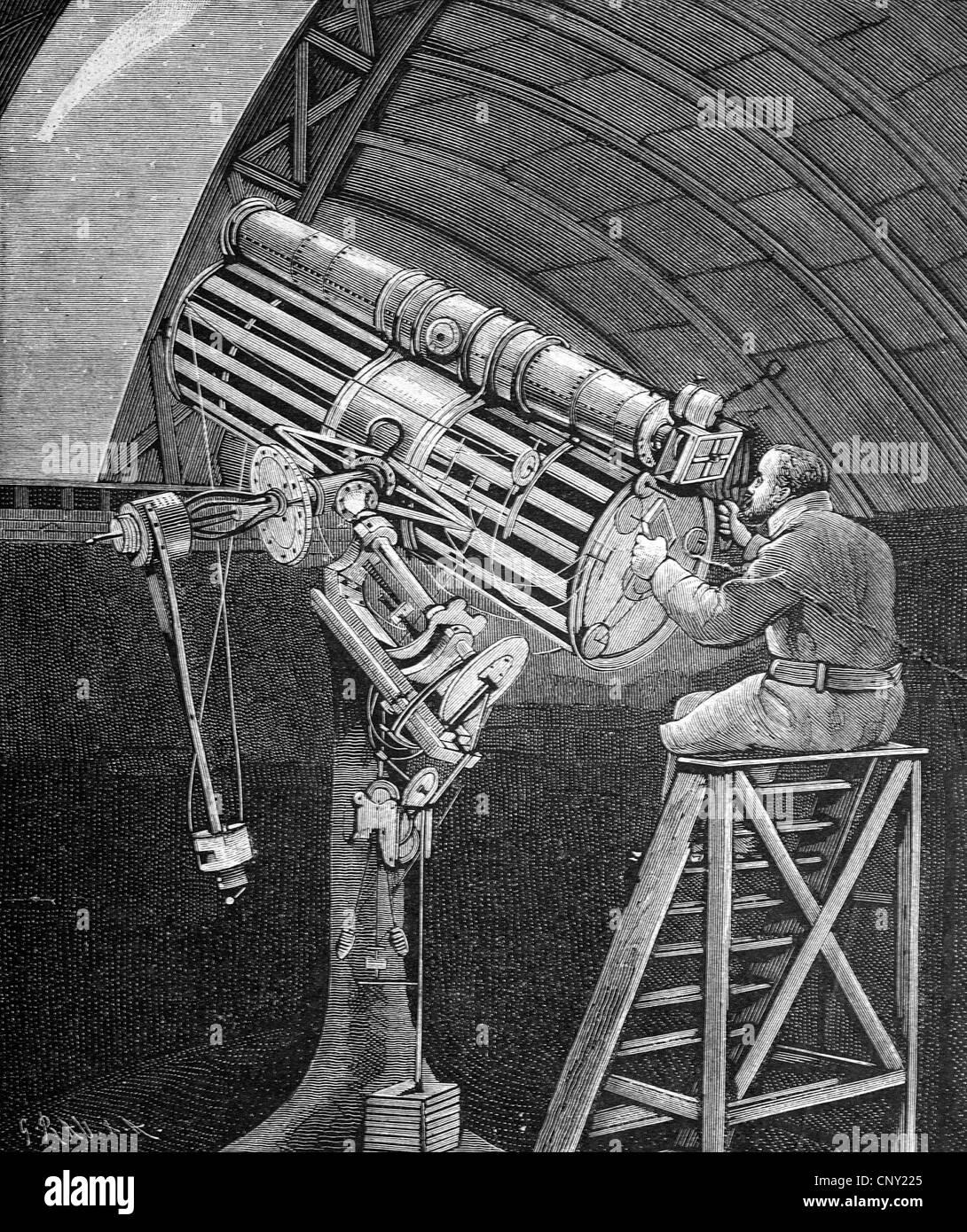 L'enregistrement photographique de la comète de 1881 à l'observatoire à Hastings par le professeur Photo Stock