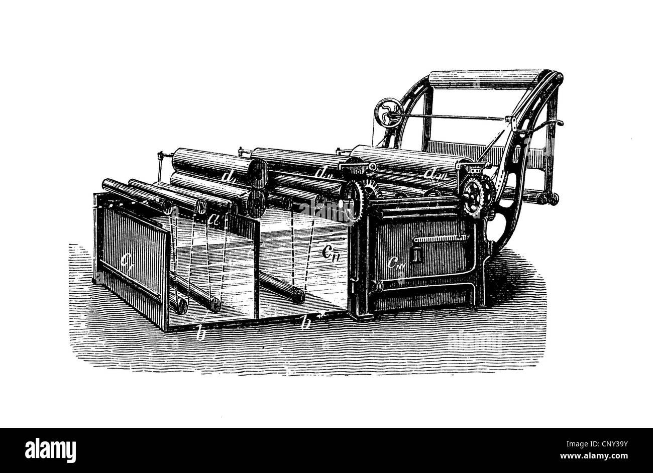 Machine de finition large, tisser, illustration historique, gravure sur bois, vers 1888 Photo Stock