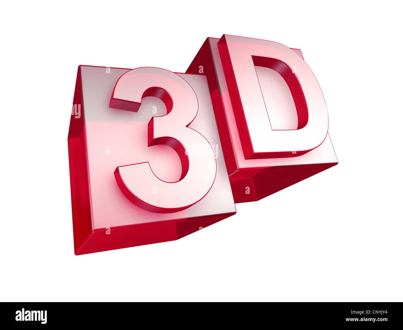 Le mot en rouge 3D en verre 3D lettres sur fond blanc - das Wort red aus roten 3D Buchstaben gesetzt Photo Stock