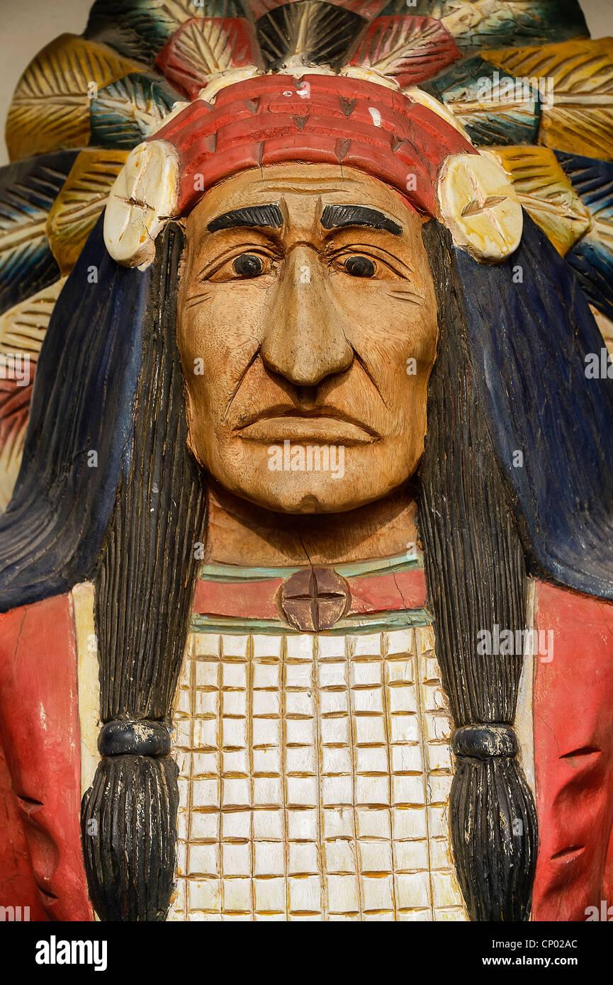 Chef indien en bois sculpté. Photo Stock