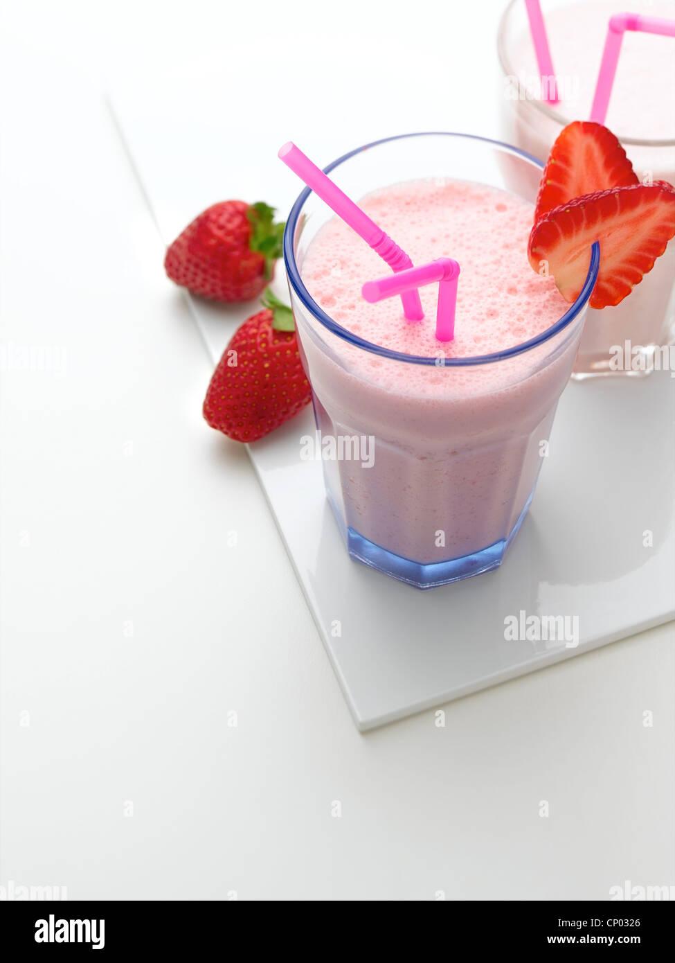 Lait frappé aux fraises Photo Stock