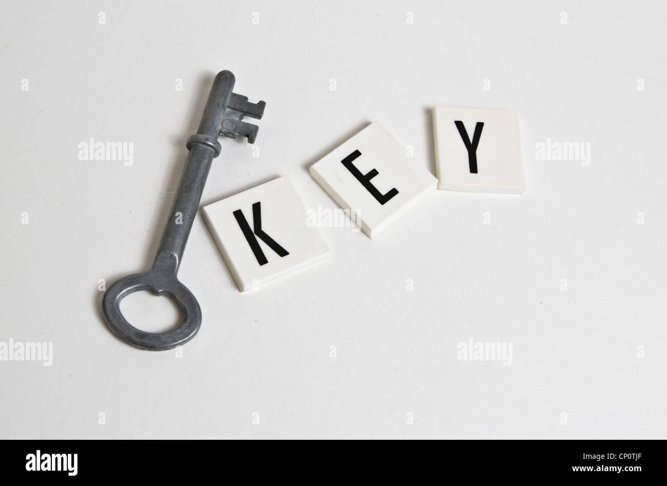 Ancienne clé et clé de texte Photo Stock