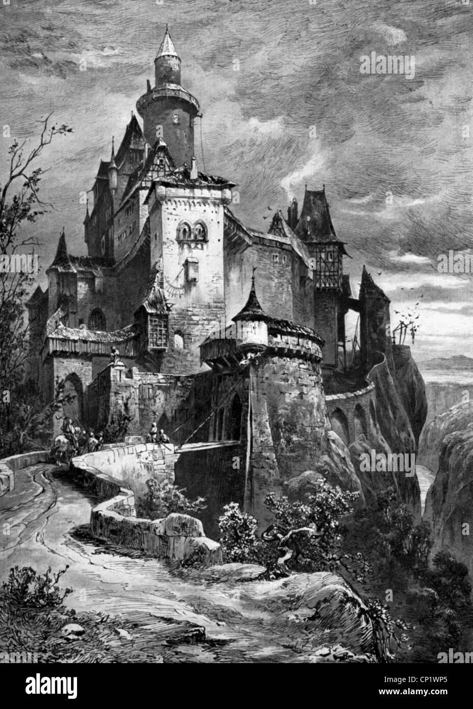 Moyen Age L Architecture Chateau Fort Illustration 19e Siecle