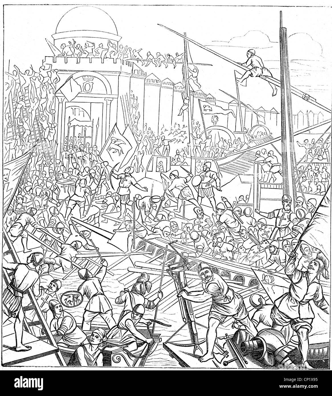 Moyen-Âge, les croisades, 4ème croisade 1202 - 1204, les croisés storm Constantinople, 12.4.1204, Photo Stock