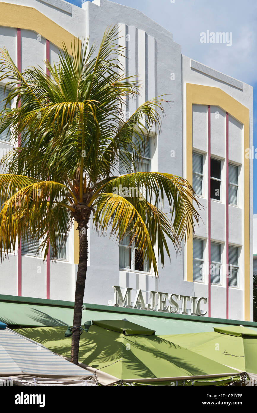 L'architecture Art Déco le long d'Ocean Drive à Miami Beach, Floride, USA. Photo Stock