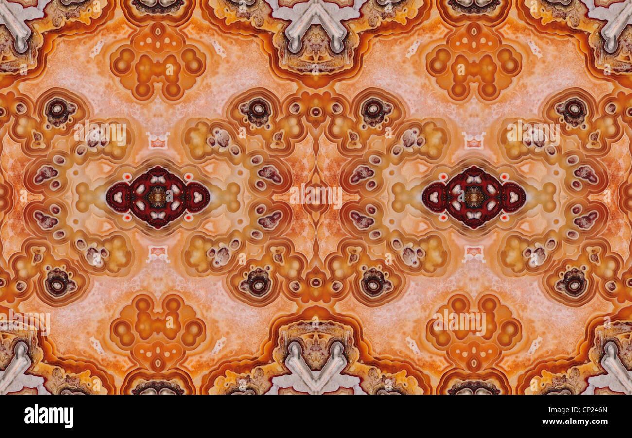 Tranche polie de Jasper (opaque, forme à grain fin de calcédoine) motif symétrique faite par la répétition Photo Stock