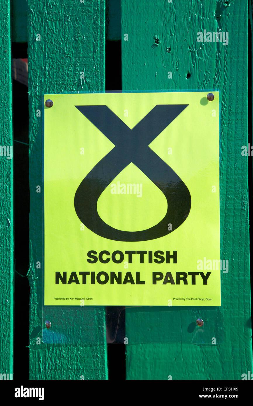 Affiche électorale du parti national écossais en Ecosse oban Photo Stock