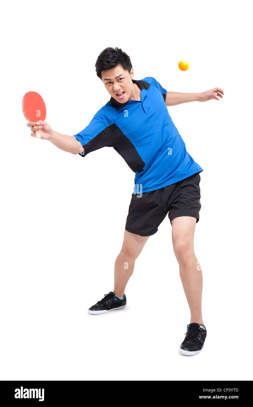 Longe de joueur de tennis de table Photo Stock