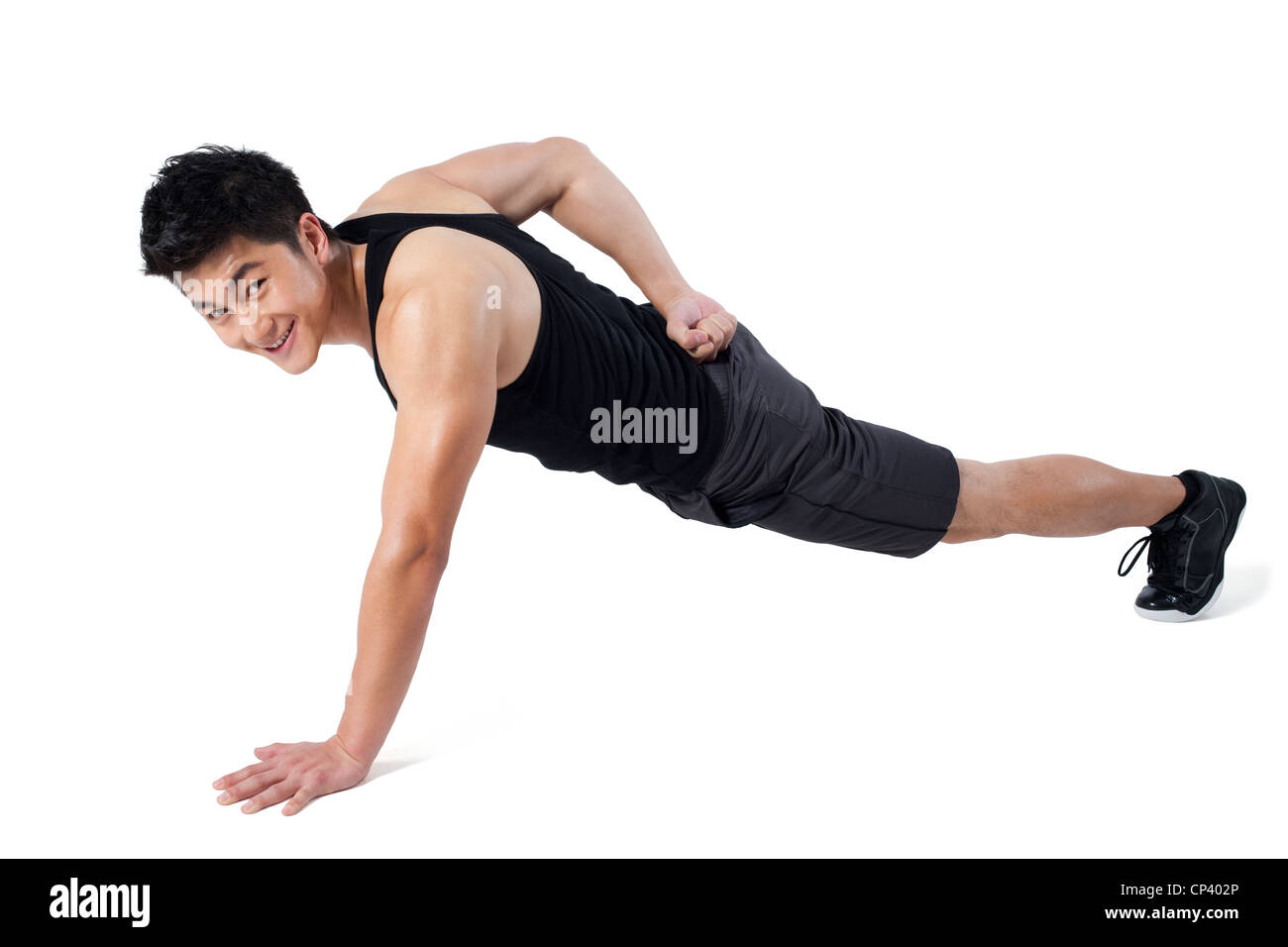 Homme d'une seule main push-ups Photo Stock