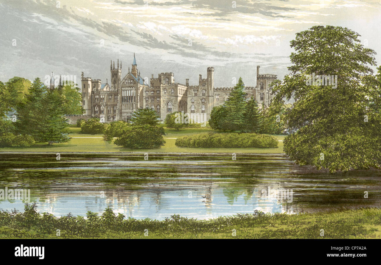 L'aquarelle du château d'Alton Towers, Staffordshire, Angleterre. Photo Stock