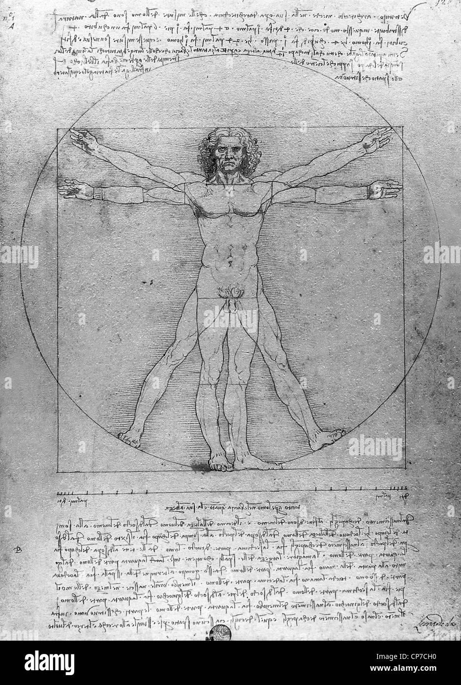 L'homme de Vitruve est un dessin de renommée mondiale créé par Léonard de Vinci vers 1487 Banque D'Images