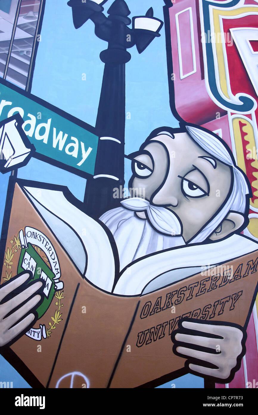 OAKSTERDAM UNIVERSITY UNIVERSITÉ DE CANNABIS 06 octobre 2011 Peinture murale Photo Stock