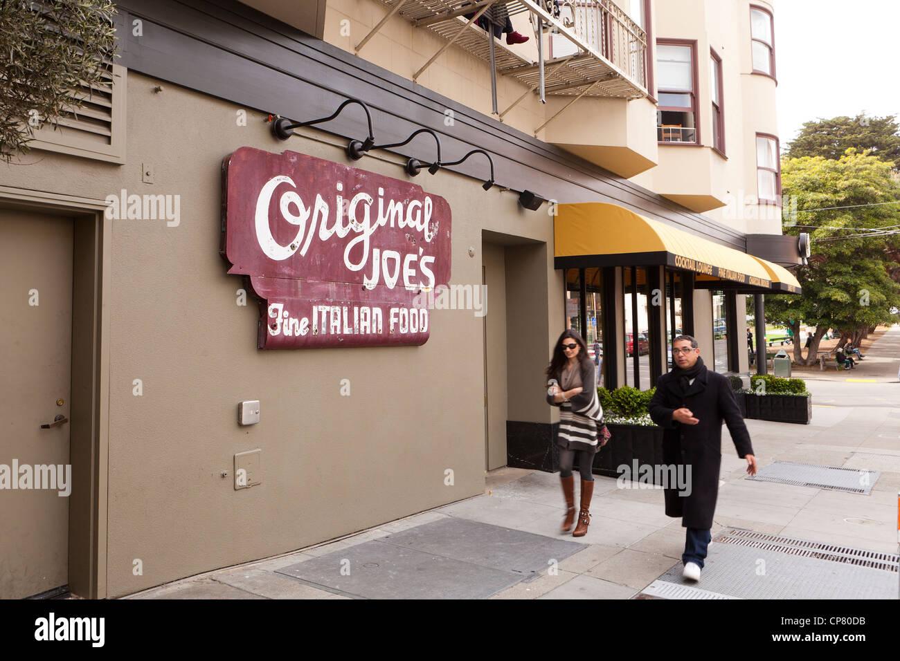 Joe's Original restaurant sign dans la Petite Italie, San Francisco Photo Stock