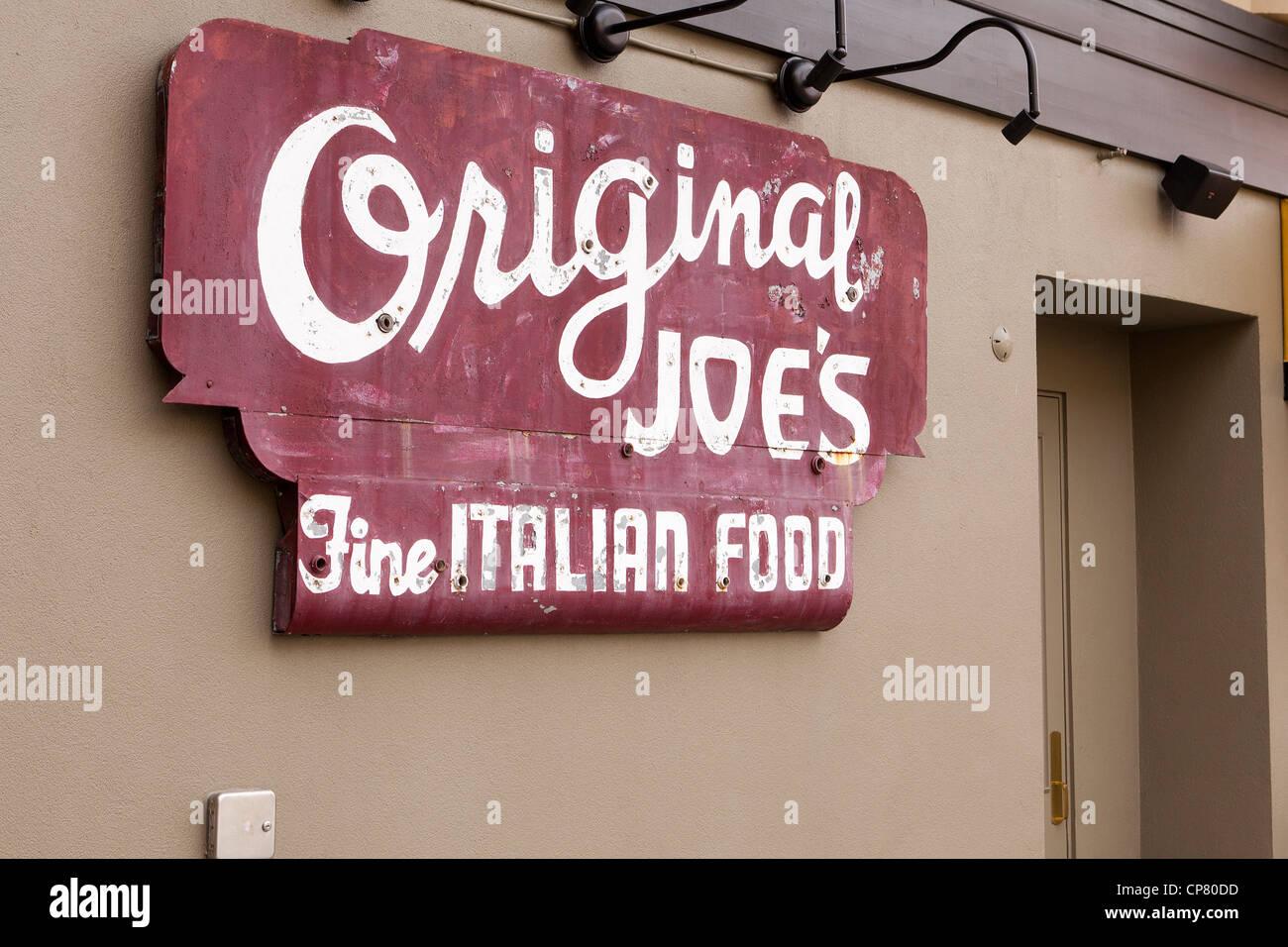 Joe's Italian Restaurant original signe antique - San Francisco Photo Stock