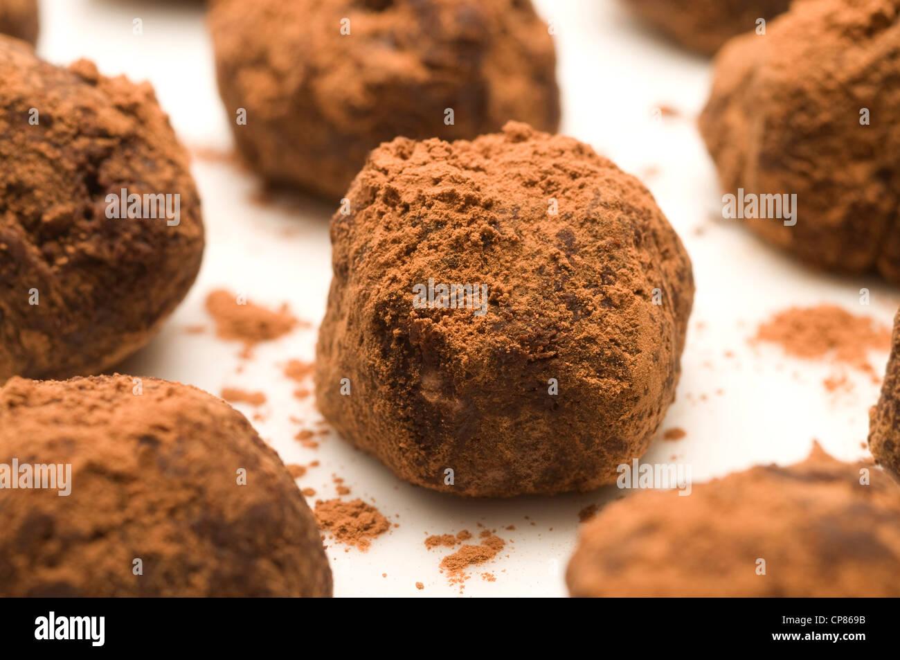 Chocolat artisanal de truffes dans le cacao en poudre Photo Stock