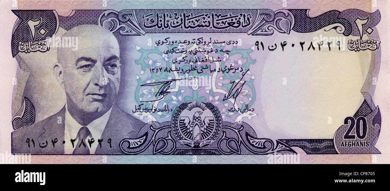 L'Afghanistan, Mohammed aus billets Daoud Khan, 20 d'Afghan, 1977 Photo Stock