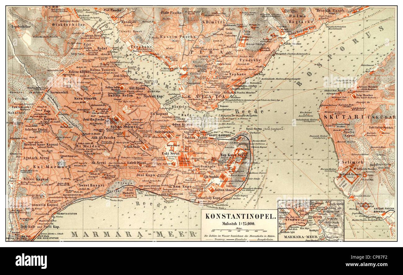 Site historique de Constantinople, Istanbul, Turquie, 19e siècle, Historische, zeichnerische Darstellung, Landkarte, Photo Stock