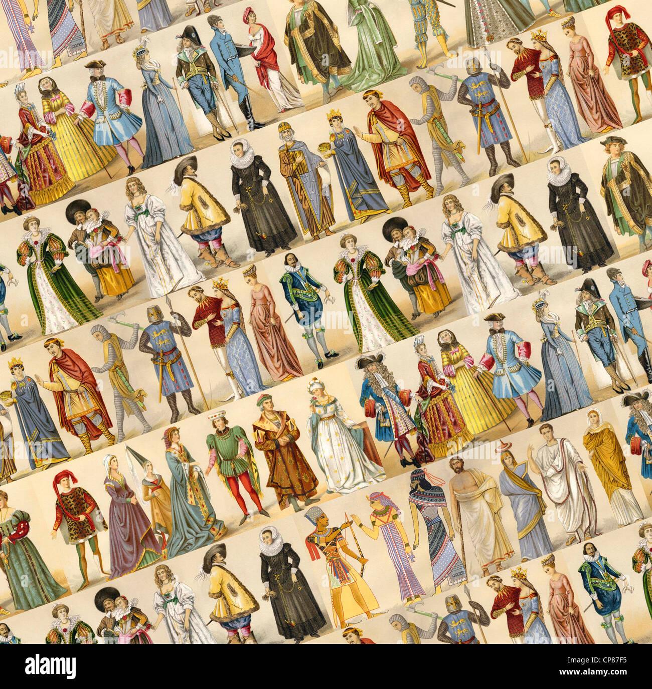 Les costumes, la mode, les vêtements, le collage de l'antiquité au xixe siècle, Historische, Photo Stock