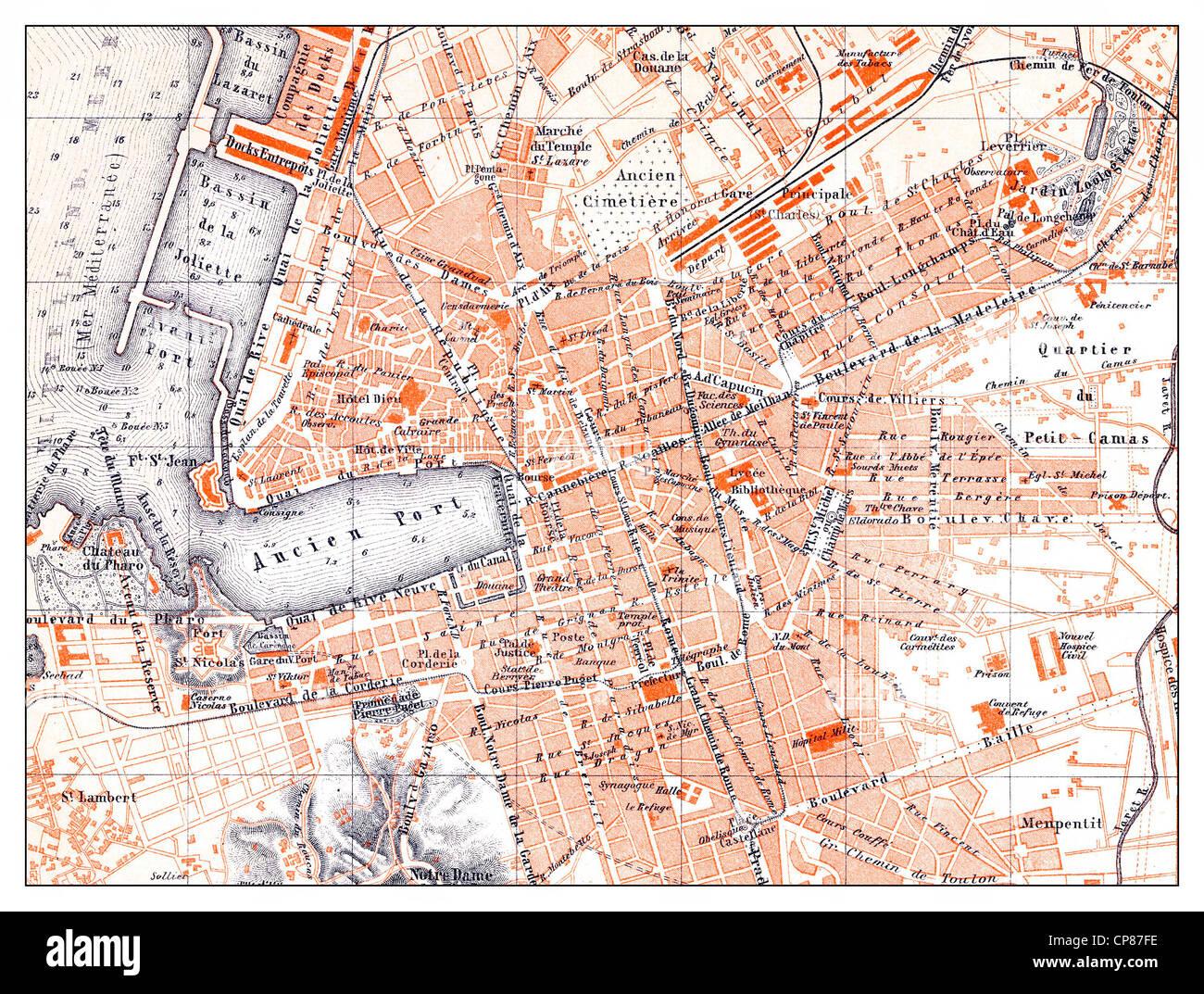Carte historique de Marsaille, France, Historische, zeichnerische Darstellung, Stadtplan von Marsaille, Frankreich, Photo Stock