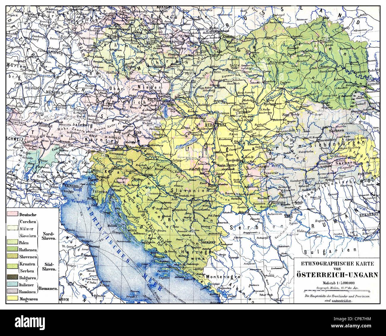 Carte ethnographique historique de l'Autriche-Hongrie, ou double monarchie monarchie kuk, pour la période Photo Stock