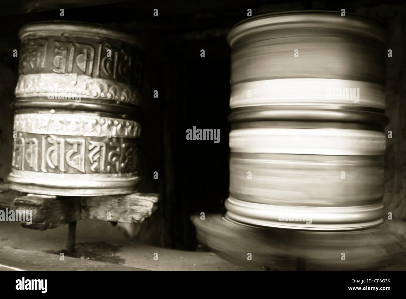 Roues de prière, Himalaya, Inde Photo Stock