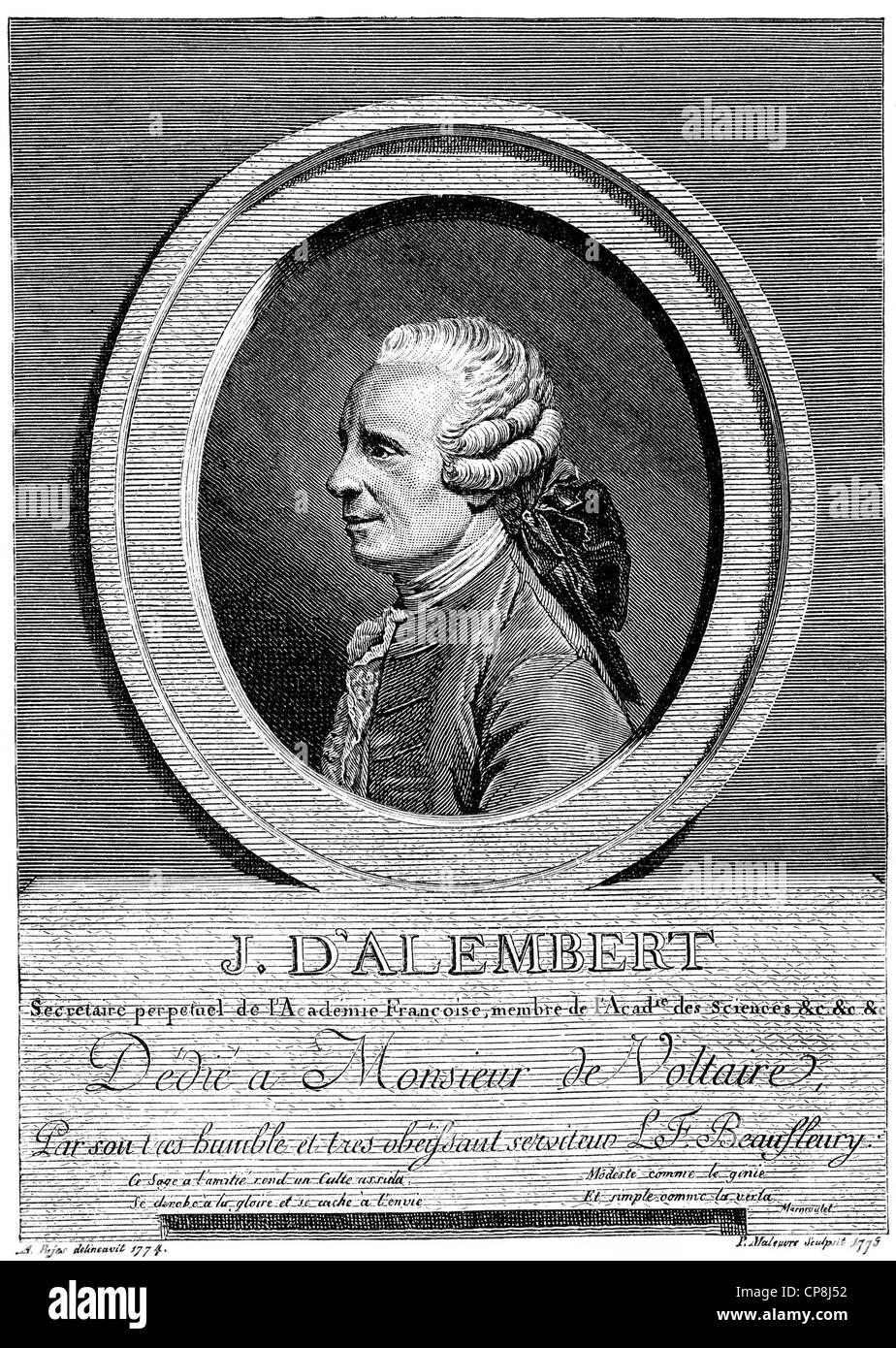 Jean-Baptiste le Rond également connu sous le nom de D'Alembert, 1717 - 1783, un mathématicien français, Photo Stock