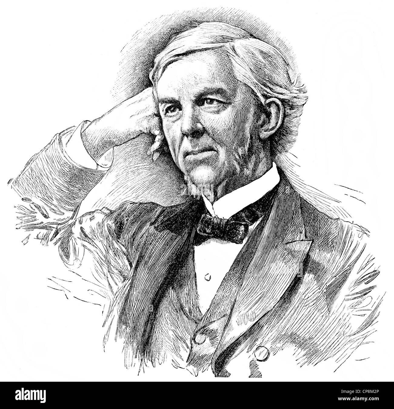 Oliver Wendell Holmes Sr., 1809 - 1894, un médecin américain et écrivain, Historische Mischtechnik aus dem 19. Jahrhundert, Banque D'Images