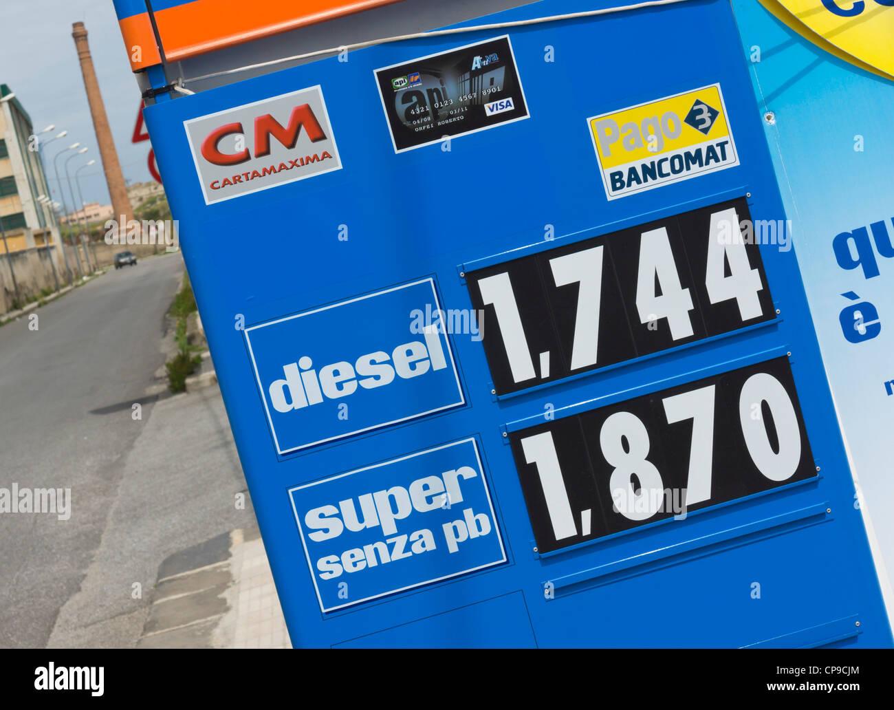 8a23af0d7c3e4d Italie - l essence et les prix du carburant diesel sur la pompe Avril 2012